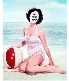 Fotomontaje para poner tu cara en una chica vintage en traje de baño