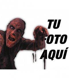 Fotomontaje para poner un zombie rojo sangriento en una foto y agregar texto online