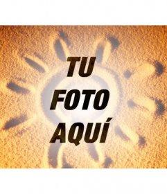Fotomontaje para superponer una foto de arena con un sol veraniego sobre la foto que quieras y añadir un texto