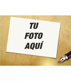 Marco de fotos de foto con pluma estilográfica. Pon tu foto en el marco