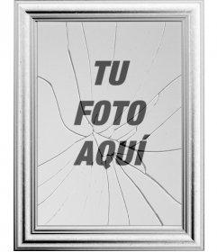Marco para fotografías digitales, tu imagen se verá reflejada en un espejo roto. Curioso efecto que puede parecer el marco de una foto con el cristal estallado