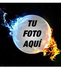 Collage online de un planeta con luz roja y azul para tus fotos