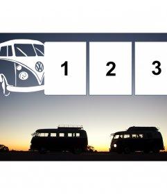 Collage de furgonetas de viaje con tres marcos para fotos con una furgoneta de moda en blanco