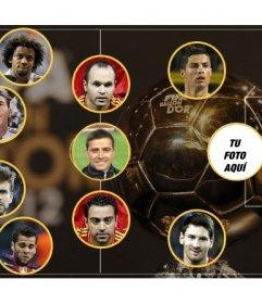 Fotomontaje de la selección del mejor equipo del año, en la que puedes poner una foto como delantero