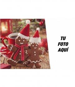 Collage de Navidad para poner tu foto junto a dos muñecos de jengibre