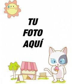 Fotomontaje infantil con un gato de dibujo