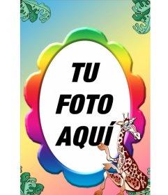 Marco para fotos con muchos colores y una jirafa, con forma de óvalo