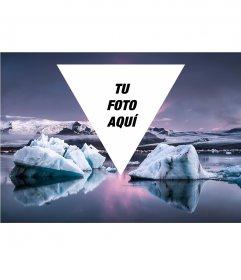 Collage hipster para poner tu foto en un glaciar
