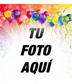 Fotomontaje festivo con globos y colores para insertar tu foto gratis