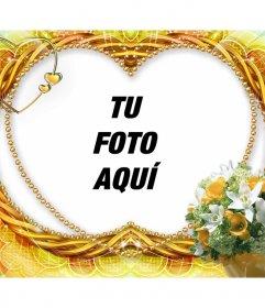 Marco para fotos con forma de corazón y adornos de flores