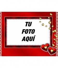Marco para fotos corazones de oro y fondo de color rojo para poner una foto dentro