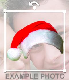Fotomontaje para poner un gorro de navidad a foto online