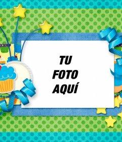 Postal de cumpleaños para personalizar añadiendo una foto