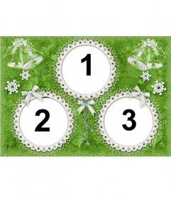 Marco de fotos de navidad para 3 fotos. Color verde
