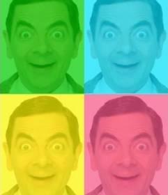 Cuadro de Pop Art personalizado con tu foto, colores verde, azul amarillo y rosa