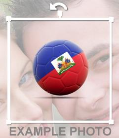 Decora tus fotos con un balón de fútbol con la Bandera de Haití gratis