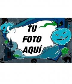 Marco para fotos azulado de Halloween