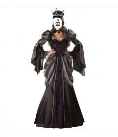 Fotomontaje de disfraz de Reina para Halloween para hacer con una foto