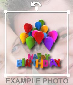 Pegatina con unos globos y texto de Feliz cumpleaños que puedes poner online en tus fotos y hacer una postal