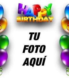 Tarjeta de cumpleaños con borde de globos de colores y texto de HAPPY BIRTHDAY en letras de colores
