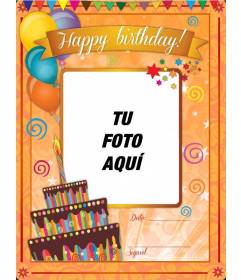 Tarjeta para felicitar el cumpleaños con fondo naranja y dibujos festivos para hacer online