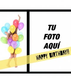Postal de felicitación de cumpleaños con una chica cubierta de globos de colores y un marco de fotos donde colocar la foto que desees