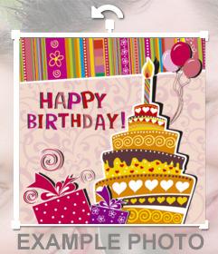 Sticker para felicitar un cumpleaños con la imagen de un pastel en una fiesta que puedes incrustar en tus fotos. Con el texto HAPPY BIRTHDAY, un pastel con una vela dibujado y adornos de cumpleaños