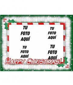 Tarjeta de Navidad para hacer con tus fotos preferidas(4) con el texto HAPPY CHRISTMAS!