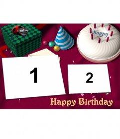 Felicitación de cumpleaños para poner dos de tus fotos. Con pastel y regalos