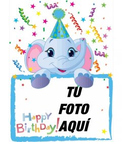 Felicitación de cumpleaños en la que incluir una fotografía que aparecerá sujeta por un elefante azul. Fondo de fiesta