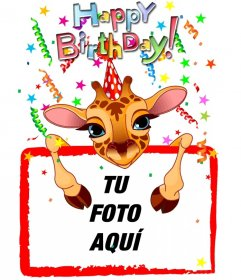 Tarjeta de felicitación de cumpleaños personalizable con una jirafa