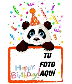 Postal para felicitación de cumpleaños de un oso panda