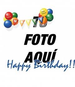 Montaje fotográfico para fotos de fiestas de cumpleaños o para felicitaciones en estos