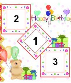 Felicitación de cumpleaños para 3 fotos con osito de peluche