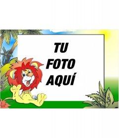 Marco para fotos infantil para poner tu foto, de león sonriente