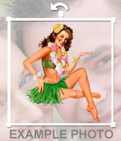 Sticker de un dibujo de una Hawaiana para tu foto