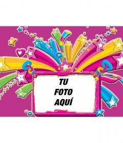 Marco rosa para una foto lleno de estrellas y corazones de colores, fondo entre rosado y morado