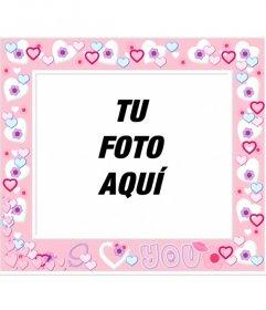 Marco para fotos rosa con corazones de color rosa, para poner tu foto de fondo