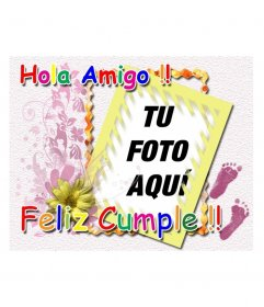 Tarjeta de cumpleaños con el texto en colores Hola Amigo Feliz cumple. Ideal para felicitar cumpleaños a niños