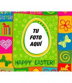 Postal de Pascua con colores para poner tu foto