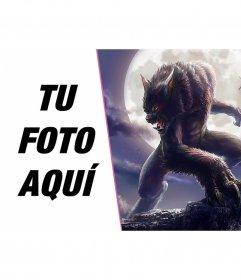 Fotomontaje con un hombre lobo