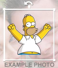 Pega a Homero Simpson celebrando en cualquier parte de tus fotos