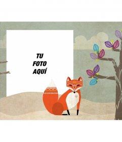Marco para fotos con una ilustración de un árbol y un zorro