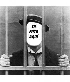 Foto montaje con tu foto de hombre en la cárcel o prisión