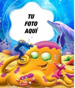 Tu fotografía en el fondo de un mar de dibujos lleno de animales subacuáticos