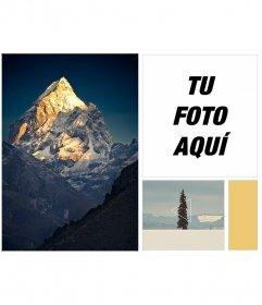 Marco indie con collage de invierno,con montañas y parajes de nieve