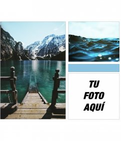 Collage de lago, océano y montañas con un toque moderno