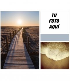 Collage con amanecer, arena de playa y olas tranquilas con un toque indie