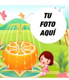 Ilustración con marco de una fuente de naranja para niños