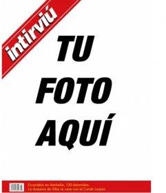 Plantilla de portada personalizable con tu foto de la revista Intirviu, ideal para bromas!